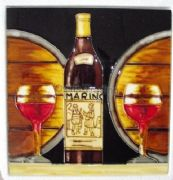 Hand Crafted Ceramic Art Tile Wine Bottle and Barrels